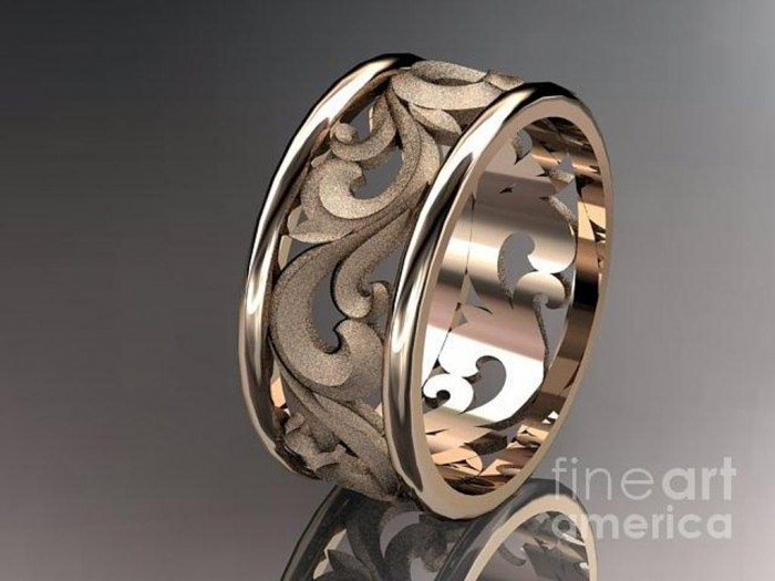 rose-gold-diamond-leaf-and-vine-wedding-ring-engagement-ring-wedding-band-adlr-121-anjaysdesigns-com Top 60 Stunning & Marvelous Rose Gold Wedding Bands