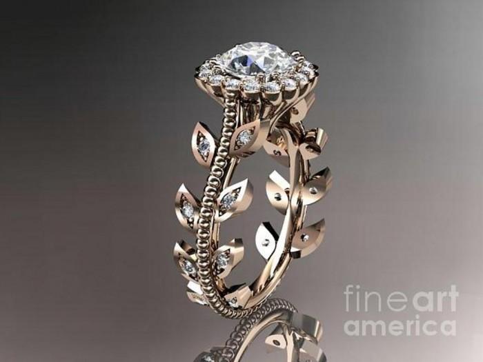 rose-gold-diamond-leaf-and-vine-wedding-ring-engagement-ring-wedding-band-adlr118-anjaysdesigns-com Top 60 Stunning & Marvelous Rose Gold Wedding Bands