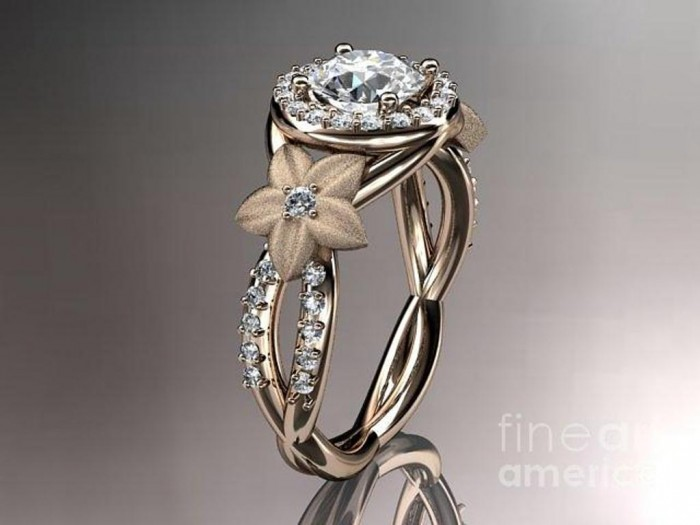 rose-gold-diamond-leaf-and-vine-wedding-ring-engagement-ring-wedding-band-adlr127-anjaysdesigns-com Top 60 Stunning & Marvelous Rose Gold Wedding Bands