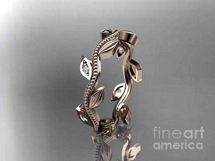 rose-gold-diamond-leaf-wedding-ring-engagement-ring-wedding-band-adlr117-anjaysdesigns-com Top 60 Stunning & Marvelous Rose Gold Wedding Bands
