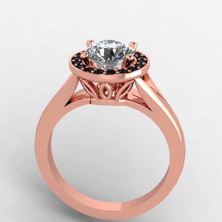 rose-gold-engagement-ring-with-black-diamonds 50 Non-Traditional Black Diamond Rose Gold Engagement Rings
