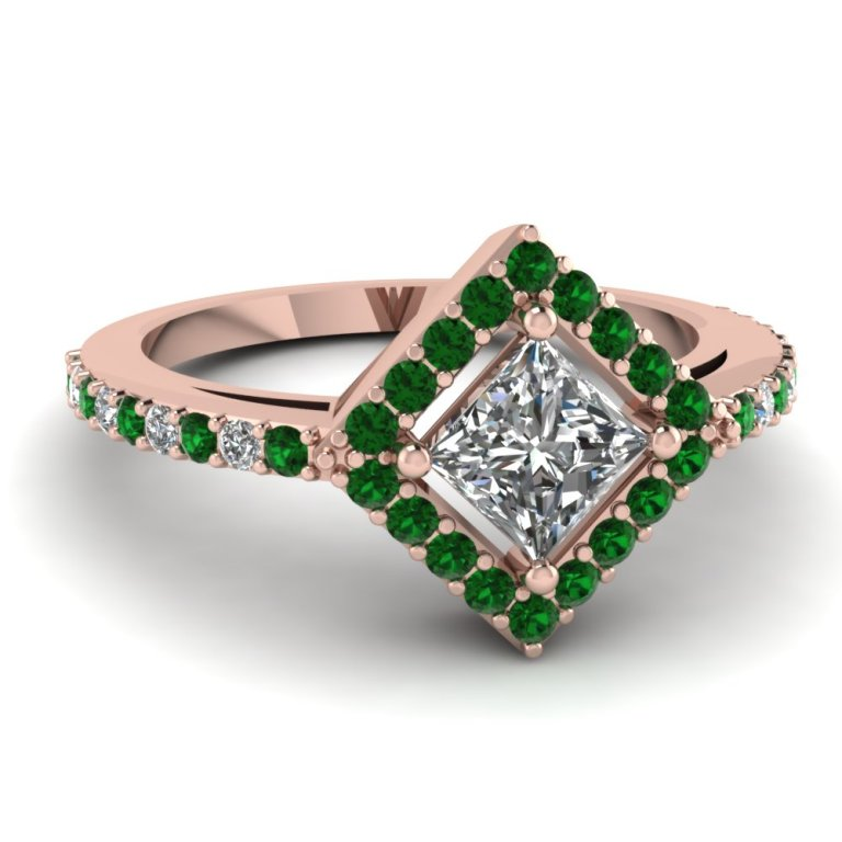 rose-gold-princess-white-diamond-engagement-wedding-ring-green-emerald-in-pave-set-FDENR8802PRRGEMGR-NL-RG Top 70 Dazzling & Breathtaking Rose Gold Engagement Rings