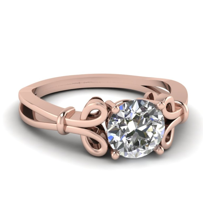 rose-gold-round-white-diamond-engagement-wedding-ring-in-prong-set-FDENR9173ROR-NL-RG Top 70 Dazzling & Breathtaking Rose Gold Engagement Rings
