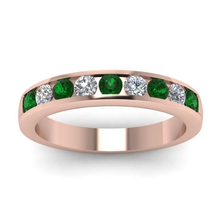 rose-gold-wedding-band-white-diamond-with-green-emerald-in-channel-set-FD1028BGEMGR-NL-RG Top 60 Stunning & Marvelous Rose Gold Wedding Bands