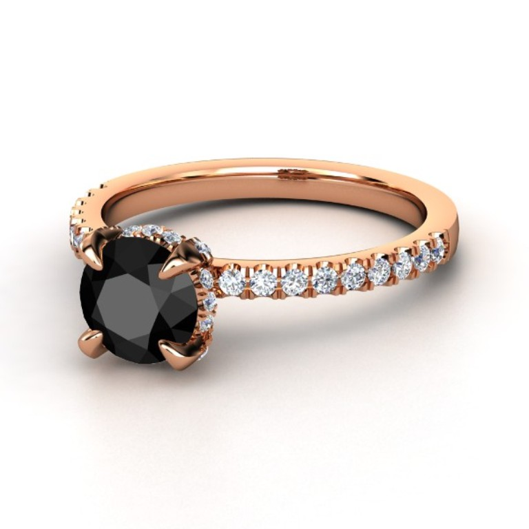 round-black-diamond-14k-rose-gold-ring-with-diamond 50 Non-Traditional Black Diamond Rose Gold Engagement Rings