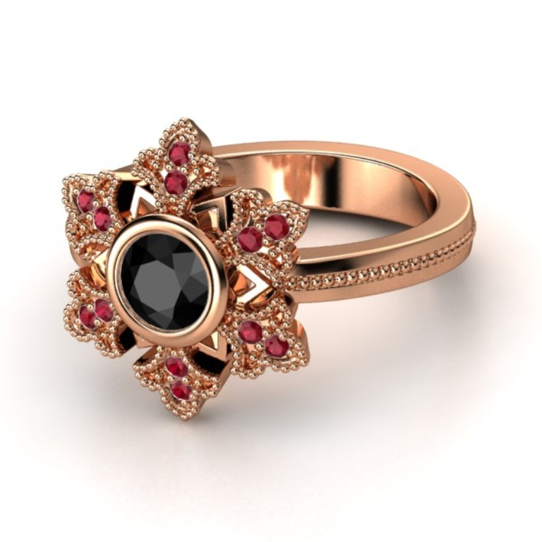 round-black-diamond-18k-rose-gold-ring-with-ruby 50 Non-Traditional Black Diamond Rose Gold Engagement Rings