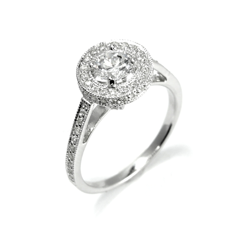 round-diamond-solitaire-engagement-ring-surrounded-with-diamonds-0.87ct-1.42ct-4685-p 35 Fascinating & Stunning Round Solitaire Engagement Rings