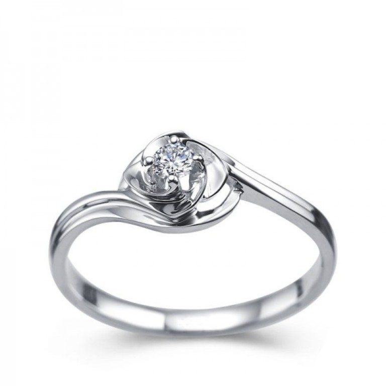 round-flower-shape-solitaire-engagement-ring-on-white-gold 35 Fascinating & Stunning Round Solitaire Engagement Rings