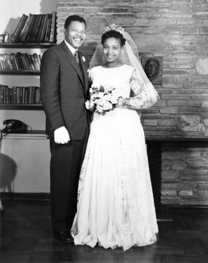 Nelson Mandela with his first wife, Evelyn Ntoko Mase