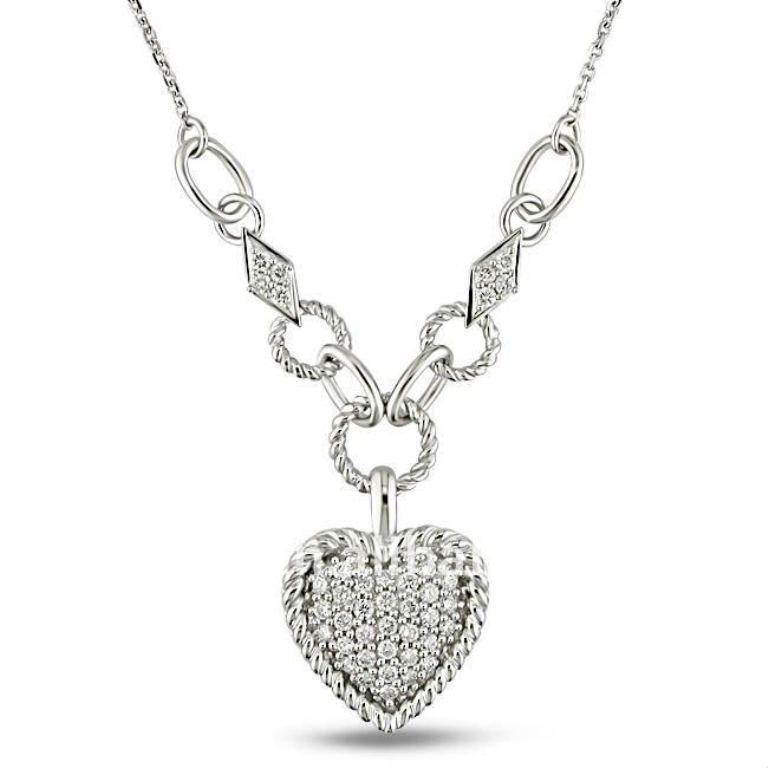 shiny_silver_diamond_heart_costume_pendant_necklaces_jewelry 50 Unique Diamond Necklaces & Pendants