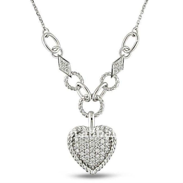 shiny_silver_diamond_heart_costume_pendant_necklaces_jewelry 50 Unique Diamond Necklaces & Pendants