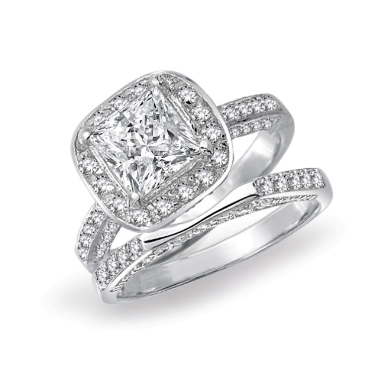 silver-ring-engagement-set-square-bridal-cz0_yc-ycr182set 35 Dazzling & Catchy Bridal Wedding Ring Sets
