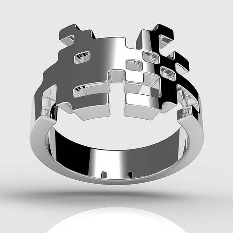 space-invaders-ring 40 Unique & Unusual Wedding Rings for Him & Her