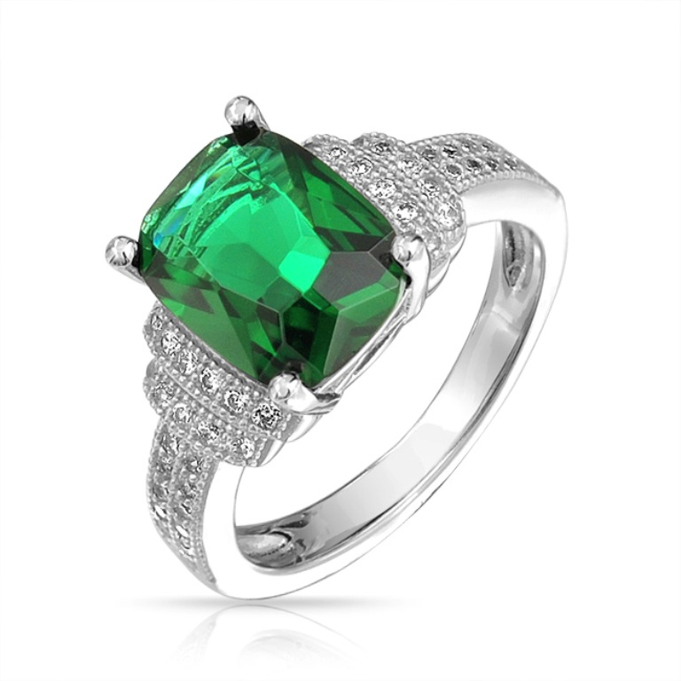 square-green-cushion-cz-stone-ring-silver_byj-gt0493-r 60 Magnificent & Breathtaking Colored Stone Engagement Rings