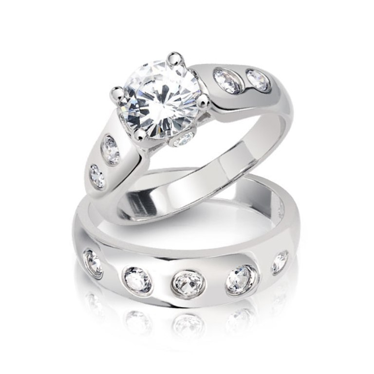 sterling-silver-cz-round-cut-engagement-wedding-ring-set-1 35 Dazzling & Catchy Bridal Wedding Ring Sets