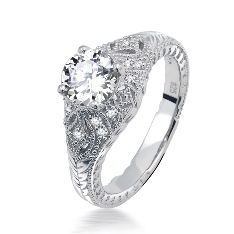 sterling-silver-ring-pave-engagement-5825 35 Fascinating & Stunning Round Solitaire Engagement Rings