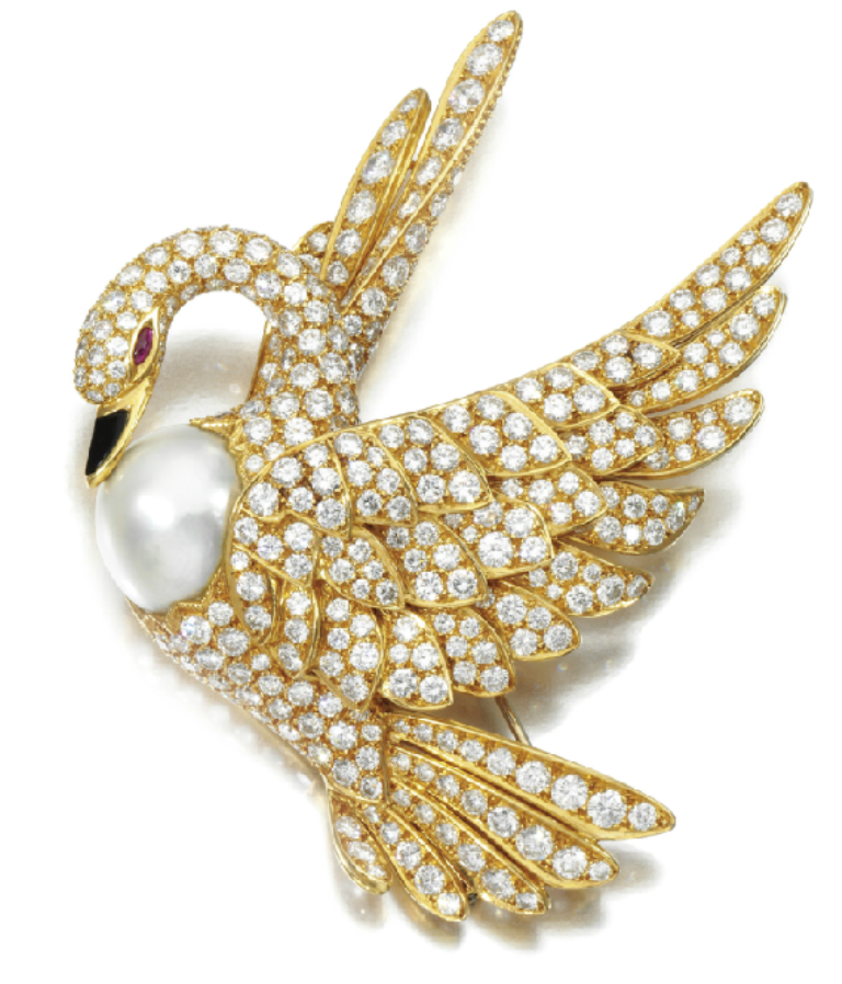swan-gold-diamond-pearl-brooch-bird-fred 50 Wonderful & Fascinating Pearl Brooches