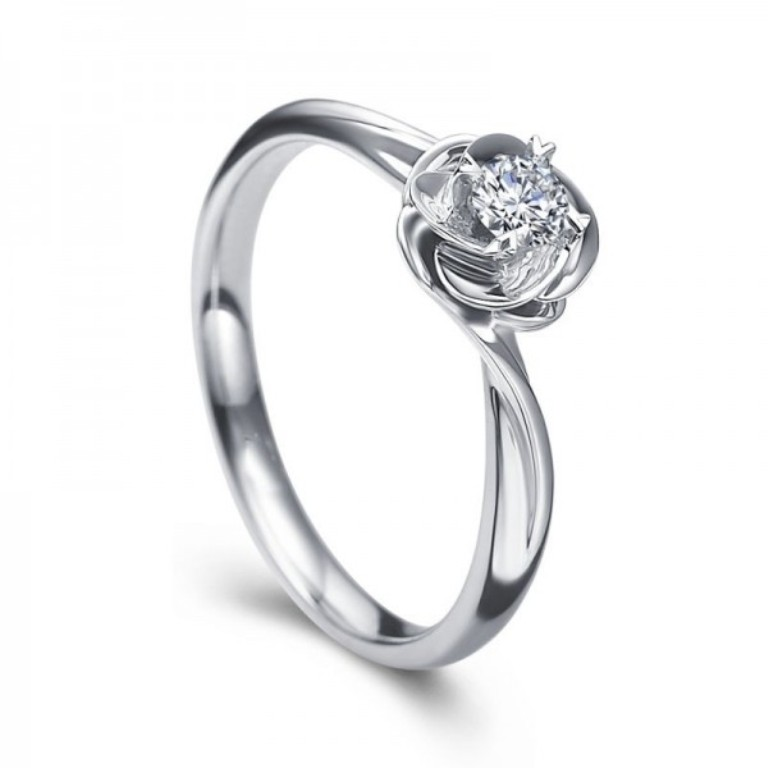 unique-flower-design-round-brilliant-solitaire-engagement-ring 35 Fascinating & Stunning Round Solitaire Engagement Rings
