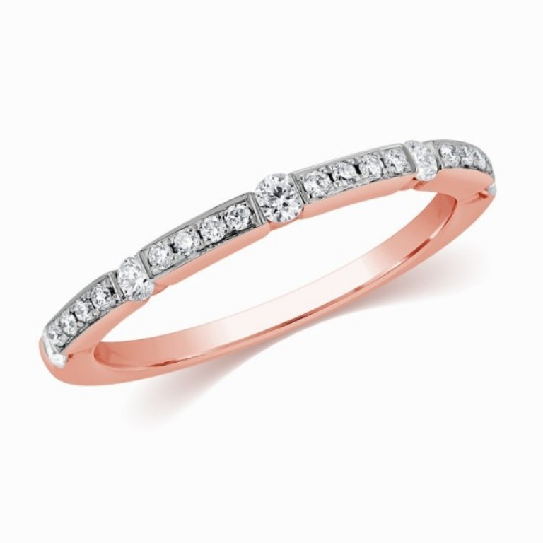 unique-petite-rose-gold-diamond-wedding-band Top 60 Stunning & Marvelous Rose Gold Wedding Bands