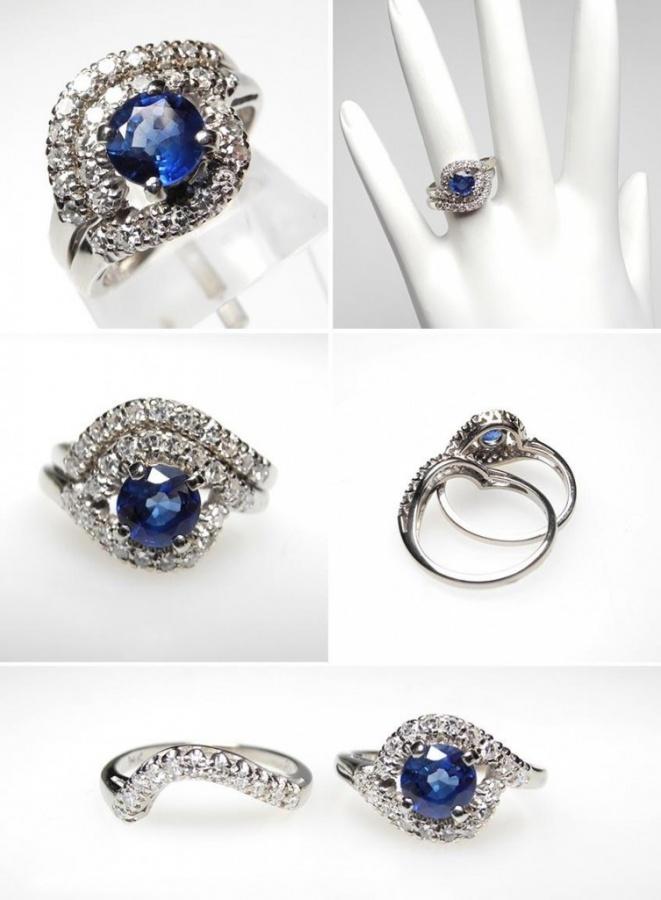 vintage-sapphire-diamond-engagement-ring-bridal-set-wm6711-753x1024 50 Unique Vintage Classic Diamond Engagement Rings