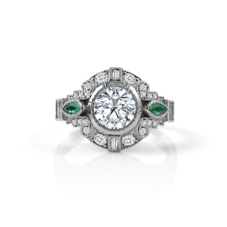 vintage_inspired_diamond_engagement_ring_with_emerald_accents 50 Unique Vintage Classic Diamond Engagement Rings