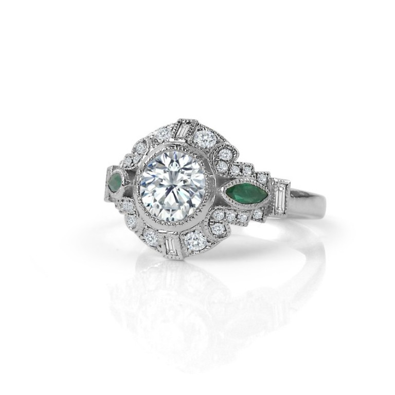 vintage_inspired_diamond_engagement_ring_with_emerald_accents_side_view 50 Unique Vintage Classic Diamond Engagement Rings