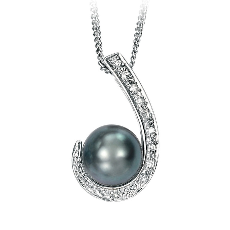 white-gold-scroll-pendant-with-grey-pearl-and-diamonds-4991-p 50 Unique Diamond Necklaces & Pendants