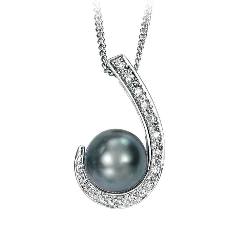 white-gold-scroll-pendant-with-grey-pearl-and-diamonds-4991-p 50 Unique Diamond Necklaces & Pendants