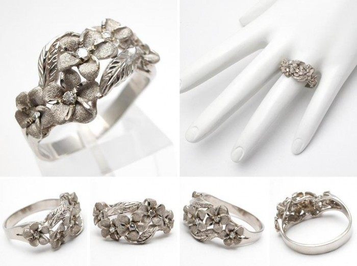 wm6141-Hawaiian-flower-diamond-band-ring-14k-gold Top 40 Gorgeous Hawaiian Wedding Rings and Bands
