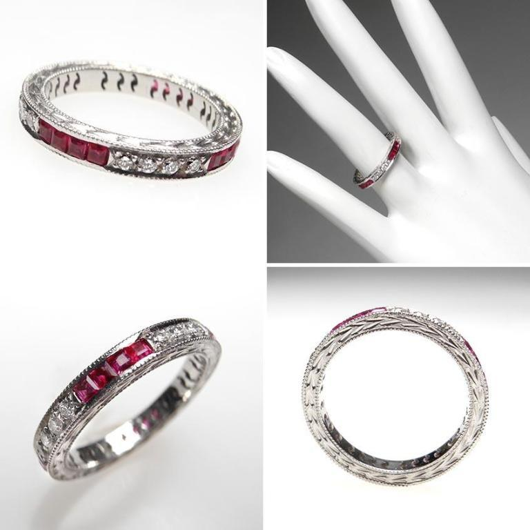 wm6548-vintage-wedding-band-ruby-diamond-eternity-platinum 60 Breathtaking & Marvelous Diamond Wedding bands for Him & Her