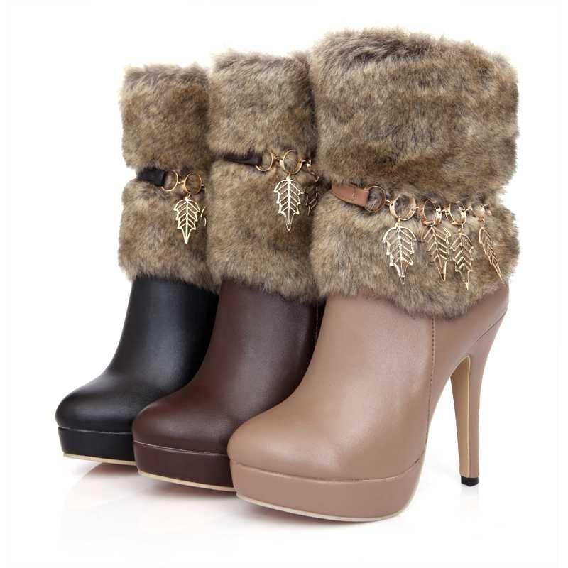 2012-Winter-Korean-Rabbit-Fur-Short-Boots-With-Zipper-Stiletto-Heel_20 Top 79 Stylish Winter Accessories in 2018