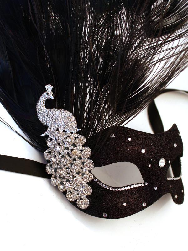 Black-Silver-Monsoon-Peacock-Swarovski-Crystal-Venetian-Masquerade-Mask-s 89+ Most Stylish Masquerade Masks in 2020
