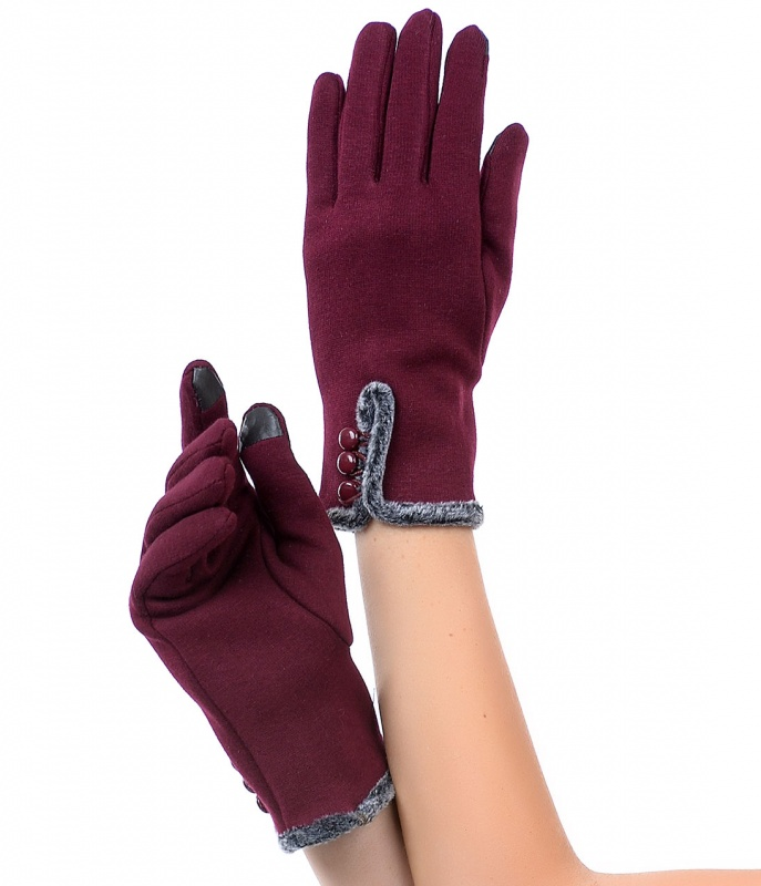 Burgundy-Faux-Fur-Gloves-36261alt Top 79 Stylish Winter Accessories in 2021