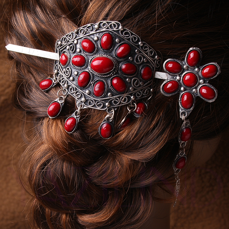 Coral-red-beaded-tibet-silver-bun-ponytail-pin-stick-barrette-hair-slide-clip Hair Jewelry: Learn What to Wear in Your Hair