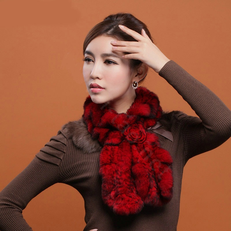 Fashion-Women-Knitted-Rex-Rabbit-Fur-Scarves-Winter-warm-Flower-Wave-Neck-wraps-Red-l2 Top 79 Stylish Winter Accessories in 2018