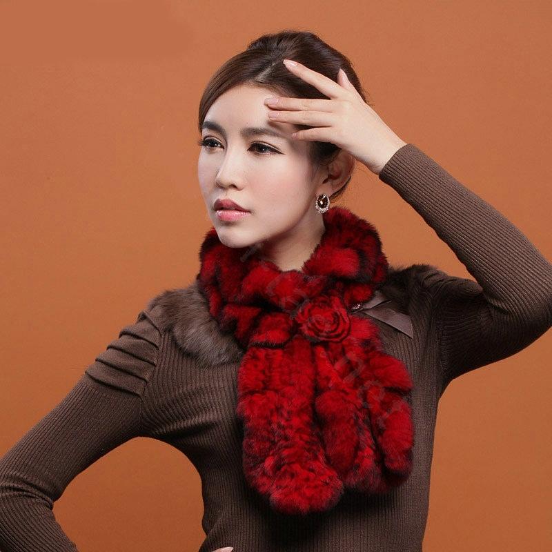 Fashion-Women-Knitted-Rex-Rabbit-Fur-Scarves-Winter-warm-Flower-Wave-Neck-wraps-Red-l2 Top 79 Stylish Winter Accessories in 2018