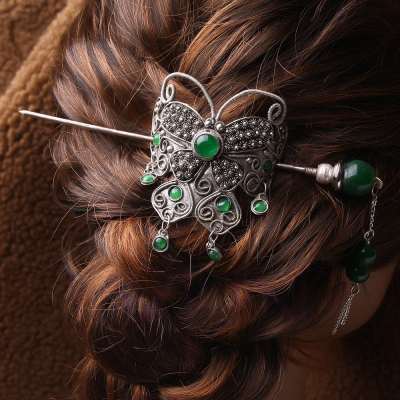 Jade-green-tibet-silver-butterfly-bun-pin-stick-barrette-hair-slide-clip-Vtg Hair Jewelry: Learn What to Wear in Your Hair