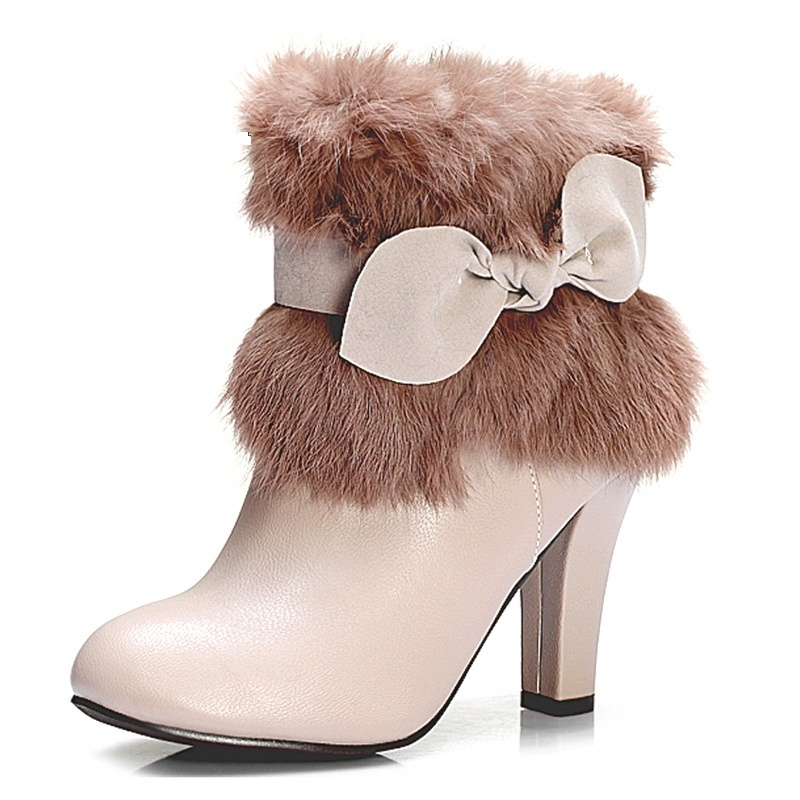 Kvoll-rabbit-fur-decoration-thick-heel-boots-bowtie-mid-woman-s-fashion-winter-boots-gray-and Top 79 Stylish Winter Accessories in 2018