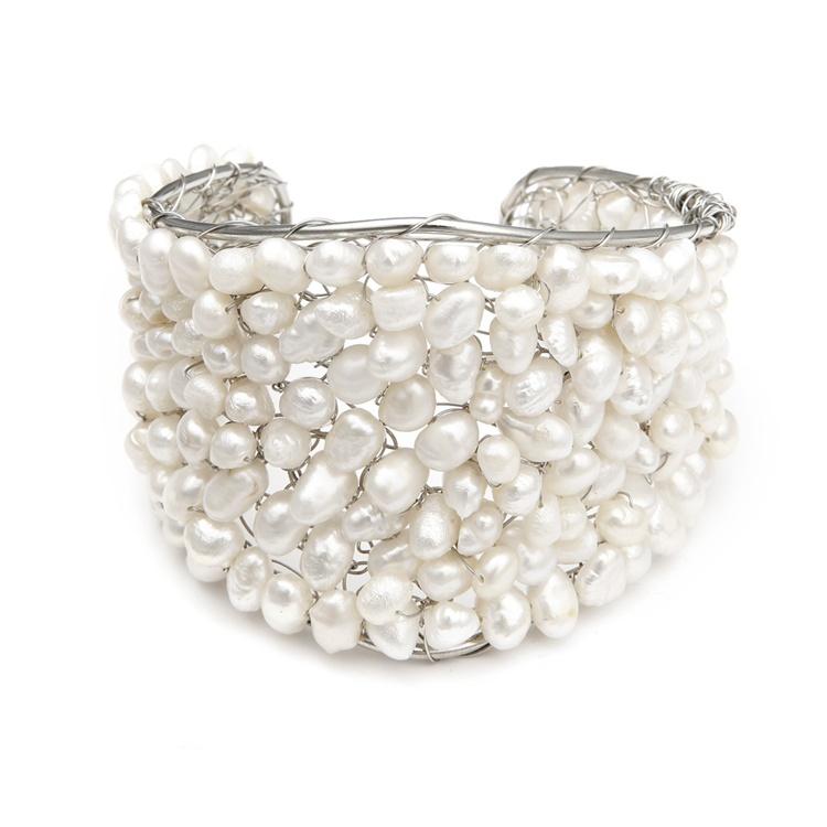 Penelope-Pearl-Cuff-Bridal-Bracelet 49 Famous Forearm Jewelry Pieces