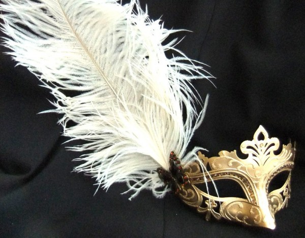 fabulous-feathered-gold-masquerade-mask-2650-p 89+ Stylish Masquerade Masks in 2017