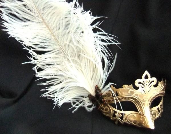 fabulous-feathered-gold-masquerade-mask-2650-p 89+ Most Stylish Masquerade Masks in 2020