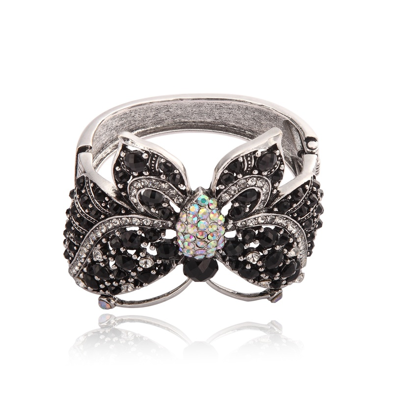 jet_crystal_ab_vintage_rhinestone_butterfly_hinged_cuff_bracelet 49 Famous Forearm Jewelry Pieces