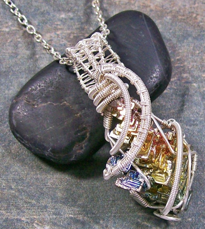 1-bismuth-crystal-and-silver-wire-wrapped-pendant-heather-jordan Make Special Gifts For Your Friends with Wire Jewelry