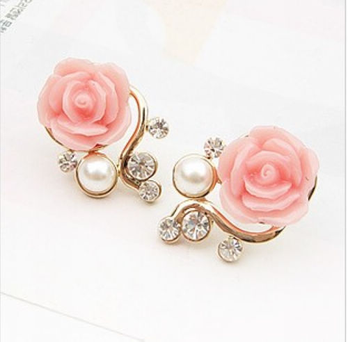 2014-New-Fashion-18K-Gold-Plated-Cute-Sweet-Rose-Shaped-Artificial-Pearl-and-Diamond-Stud-font 35+ Most Fashionable Women and Girls Earrings Designs