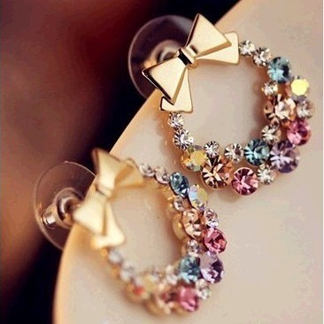 2014-New-Fashion-Cute-Lovely-Bow-Shaped-Multicolor-font-b-Crystal-b-font-Rhinestone-Stud-font 35+ Most Fashionable Women and Girls Earrings Designs 2018