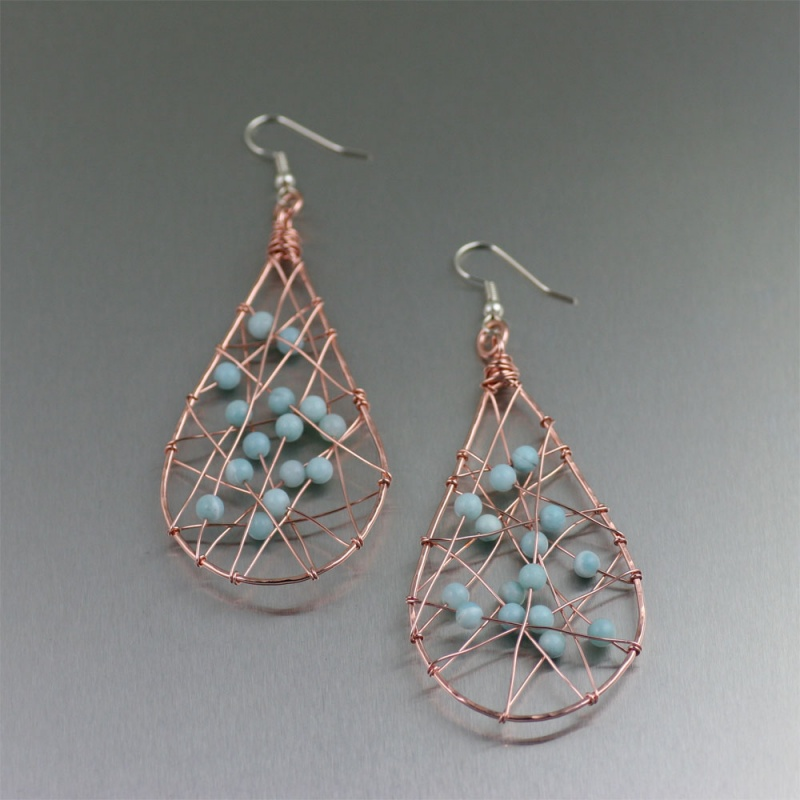 Amazonite-Copper-Wire-Wrapped-Tear-Drop-Earrings-JBME-49-Designer-Jewelry-by-John-S-Brana Make Special Gifts For Your Friends with Wire Jewelry