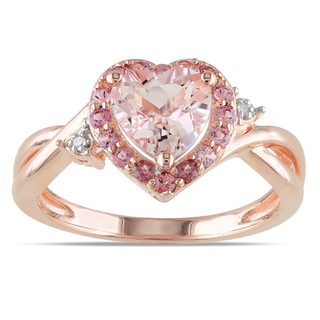 Miadora-Rose-Plated-Silver-Morganite-Tourmaline-and-Diamond-Ring-P15554536 30 Elegant Design Of Engagement Rings In Rose Gold