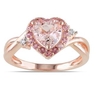 Miadora-Rose-Plated-Silver-Morganite-Tourmaline-and-Diamond-Ring-P15554536 30 Elegant Design Of Engagement Rings In Rose Gold