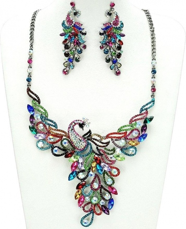 MultiColor-Peacock-Necklace-Earrings-www.jewellery.ozyle-5 These 25+ Multicolor Jewels Will Live Up Your Outfit And Uplift Your Mood As Well
