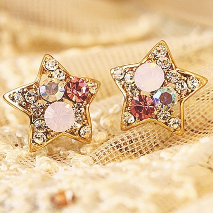 Wholesale-font-b-Cheap-b-font-2014-New-Fashion-Trendy-font-b-Cute-b-font-Star 2017 Fashionable Designs Of Earrings For Women And Teenage Girls